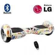 Hoverboard Scooter 2 Rodas Elétrico Bluetooth Inovia PB-01BT Branco Colorido White G 6,5 Polegadas Bateria LG