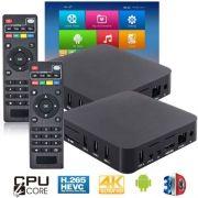 Kit 2 Aparelhos Conversor Smart Box Tv 8Gb Android 7.1 Exbom OTT-A2 4K Ultra HD Hdmi Usb Wifi