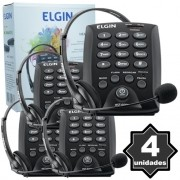 Kit 4 Telefones Headset com Base Discadora Teclado Elgin HST 6000 Telemarketing Preto