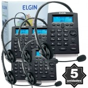 Kit 5 Telefones Headset com Base Discadora Teclado e Identificador de Chamadas Elgin HST 8000 Preto