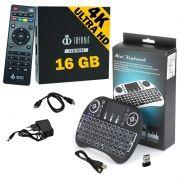 Kit Aparelho Conversor Smart Box Tv 16Gb + Teclado Android Infokit 4K 3D HD Wifi