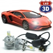 Kit Par Lâmpada Super Led Automotiva Farol Carro 3D 8000 Lumens 12V 24V 6000K