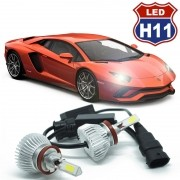 Kit Par Lâmpada Super Led Automotiva Farol Carro 3D H11 8000 Lumens 12V 24V 6000K