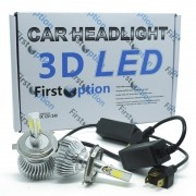 Kit Par Lâmpada Super Led Automotiva Farol Carro 3D H4 (Bi) 8000 Lumens 12V 24V First Option 6000K