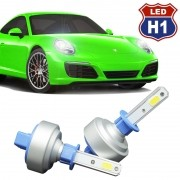 Kit Par Lâmpada Super Led Automotiva Plug Original Farol Carro H1 9000Lm 12/24V 6000K
