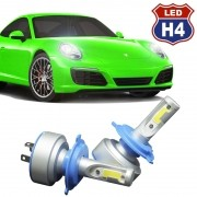 Kit Par Lâmpada Super Led Automotiva Farol Carro H4 Bi 9000Lm 12/24V 6000K