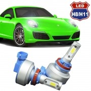Kit Par Lâmpada Super Led Automotiva Farol Carro H8 H11 9000Lm 12/24V 6000K