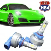 Kit Par Lâmpada Super Led Automotiva Farol Carro HB4 9006 9000Lm 12/24V 6000K