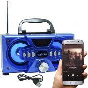 Mini Caixa Som Bluetooth Amplificada Mp3 Fm Usb Sd Azul 10w Rms Exbom CS-M227BT