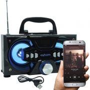 Mini Caixa Som Bluetooth Amplificada Mp3 Fm Usb Sd Preta 10w Rms Exbom CS-M227BT
