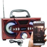 Mini Caixa Som Bluetooth Amplificada Mp3 Fm Usb Sd Vermelha 10w Exbom CS-M227BT