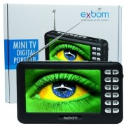 Mini Tv Digital Portátil HD Tela 4.3 Usb Sd Rádio Fm Isdb-t Monitor Exbom MTV-43A