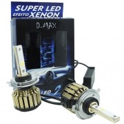 Par Lâmpada Super Led Automotiva Kit 9000 Lumens 12V 24V 48W D-Max Farol H4 (Bi) 6000K
