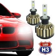 Par Lâmpada Super Led Automotiva Kit 9000 Lumens 12V 24V Farol H3 6000K