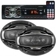 Rádio Mp3 Automotivo 66XX Fm Usb Sd Aux + Par Alto Falante 6x9 Polegadas 200W Rms Quadriaxial