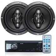 Rádio Mp3 Automotivo Bluetooth Uber Usb Aux Controle + Par Alto Falante 6,5 Pol 120W Rms Quadriaxial