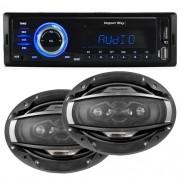Rádio Mp3 Automotivo Importway KV-9602 Fm Usb Sd Aux + Par Alto Falante 6x9 200W Rms Quadriaxial