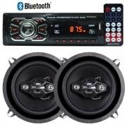Rádio Mp3 Player Automotivo Bluetooth 6630B Fm Usb Controle + Par Alto Falante 5 Pol 100W Rms