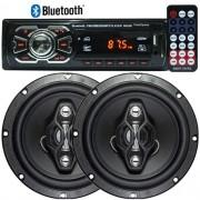 Rádio Mp3 Player Automotivo Bluetooth 6630B Fm Usb Controle + Par Alto Falante 6,5 Pol 120W Rms