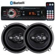 Rádio Mp3 Player Automotivo Bluetooth 6650B Fm Usb Controle + Par Alto Falante 5 Pol 100W Rms