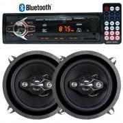 Rádio Mp3 Player Automotivo Bluetooth 6690B Fm Usb Controle + Par Alto Falante 5 Pol 100W Rms