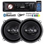 Rádio Mp3 Player Automotivo Bluetooth Fm Usb 7 Cores Iluminação + Par Alto Falante 5 Pol 100W Rms