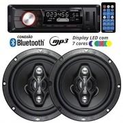 Rádio Mp3 Player Automotivo Bluetooth Fm Usb 7 Cores Iluminação + Par Alto Falante 6,5 Pol 120W Rms