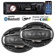 Rádio Mp3 Player Automotivo Bluetooth Fm Usb 7 Cores Iluminação + Par Alto Falante 6x9 200W Rms