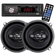Rádio Mp3 Player Automotivo Roadstar Fm Usb Aux Controle + Par Alto Falante 5 100W Rms Quadriaxial