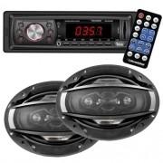 Rádio Mp3 Player Automotivo Roadstar Fm Usb Aux Controle + Par Alto Falante 6x9 200W Rms Quadriaxial