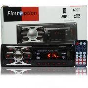 Rádio Mp3 Player Automotivo Toca Som First Option 6660 Fm Usb Sd Aux Controle