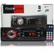 Rádio Mp3 Player Automotivo Toca Som First Option 8650 Fm Usb Sd Aux Controle