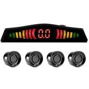 Sensor de Ré Estacionamento Universal 4 Pontos Display Led Cinoy 18mm YN-SR002PO Preto Brilhante
