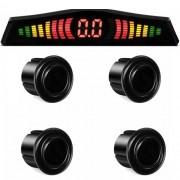 Sensor de Ré Estacionamento 4 Pontos Display Led First Kit 18mm Preto Brilhante
