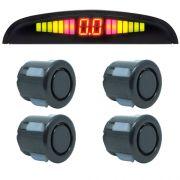 Sensor de Ré Estacionamento Universal 4 Pontos Display Led Grafite