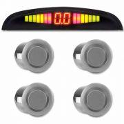 Sensor de Ré Estacionamento Universal 4 Pontos Display Led Prata