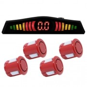 Sensor de Ré Estacionamento Universal 4 Pontos Visor Display Led First Option Kit 18mm Vermelho