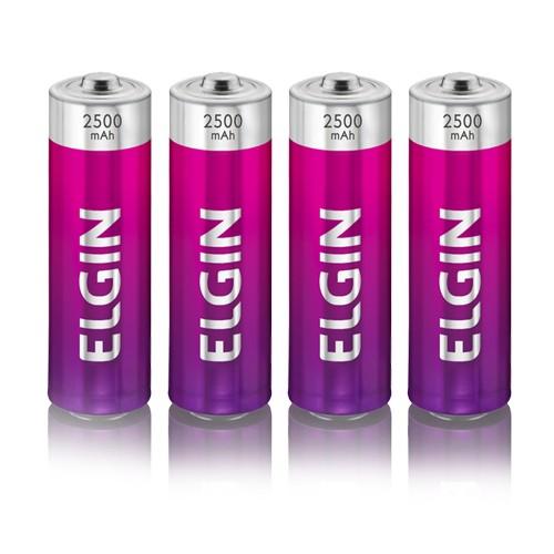 4 Pilhas Recarregáveis Elgin AA 2500 mAh 1,2V Lacrado Novo Original  - BEST SALE SHOP