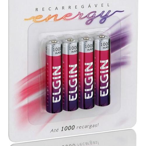 4 Pilhas Recarregáveis Elgin AAA 1000 mAh 1,2V Palito Lacrado Novo Original  - BEST SALE SHOP