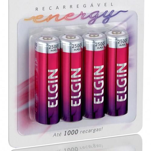 8 Pilhas Recarregáveis Elgin AA 2500 mAh 1,2V Lacrado Novo Original  - BEST SALE SHOP