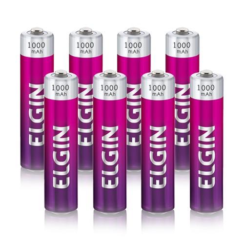 8 Pilhas Recarregáveis Elgin AAA 1000 mAh 1,2V Palito Lacrado Novo Original  - BEST SALE SHOP