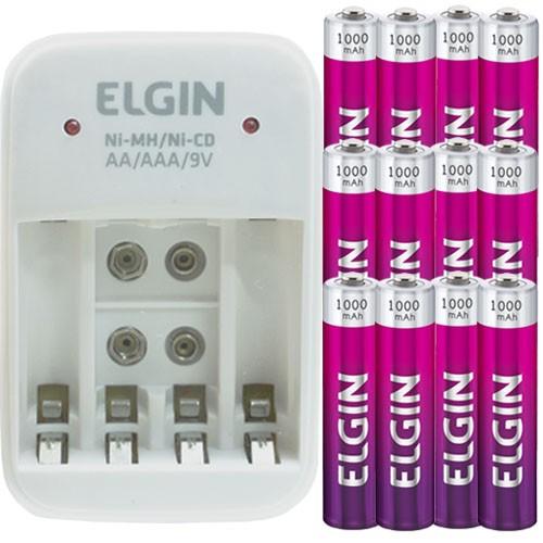Carregador de Pilhas AAA AA Bateria 9V Bivolt com 12 Pilhas Recarregáveis AAA 1000 mAh Elgin  - BEST SALE SHOP