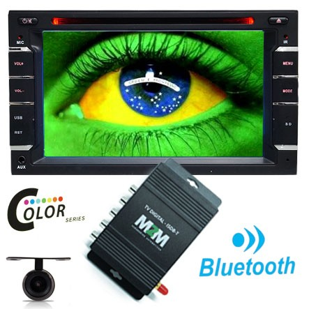 Dvd Automotivo 2 Din 6.2 M2M Car 2D-01 Sd Usb Bluetooth Tv Digital Câmera de Ré Controle Remoto  - BEST SALE SHOP