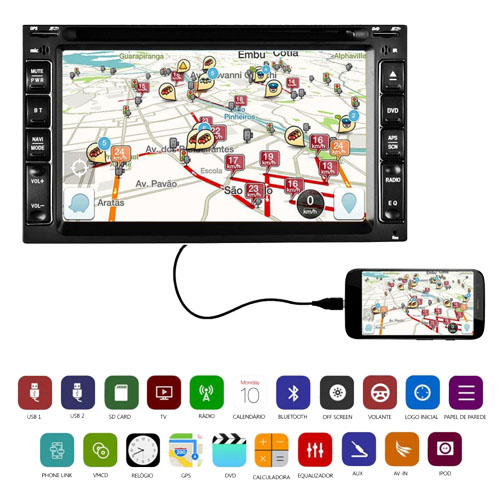 Dvd Automotivo 2 Din 6.2 Tay Tech S95 Premium Universal SD Usb Bluetooth Tv Digital Gps - BEST SALE SHOP
