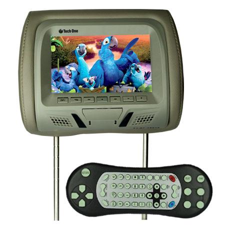 Encosto Cabeça Tela Monitor Leitor Dvd Tech One Standard Cinza  - BEST SALE SHOP