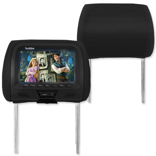 Encosto Cabeça Tela Monitor Usb SD + Encosto de Cabeça Escravo Tech One Standard Preto  - BEST SALE SHOP