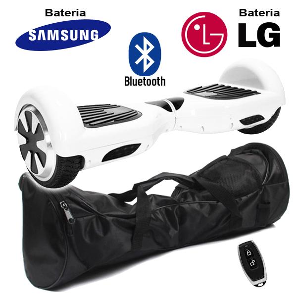Hoverboard Scooter 2 Rodas Elétrico Bluetooth Branco 6,5 Polegadas Bateria LG ou Samsung com Bolsa  - BEST SALE SHOP