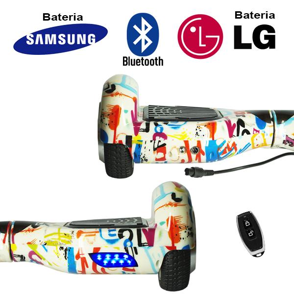 Hoverboard Scooter 2 Rodas Elétrico Bluetooth Branco Colorido 6,5 Polegadas Bateria LG ou Samsung com Bolsa  - BEST SALE SHOP