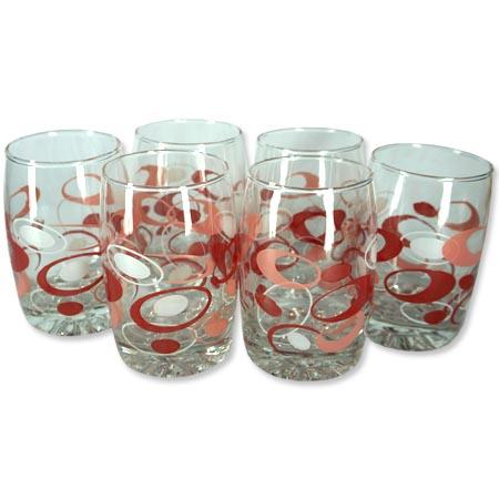 Jogo Com 6 Copos de Vidro Moriste 6901E Vermelho e Rosa 250Ml  - BEST SALE SHOP