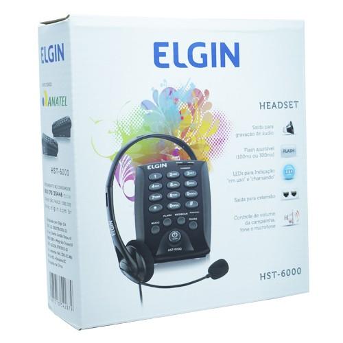 Kit 2 Telefones Headset com Base Discadora Teclado Elgin HST 6000 Telemarketing Preto  - BEST SALE SHOP